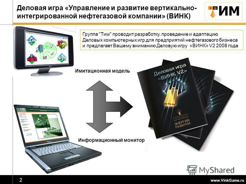 2 Деловая игра «Управление и развитие вертикально- интегрированной нефтегазовой компании» (ВИНК) Информационный монитор Имитационная модель Группа