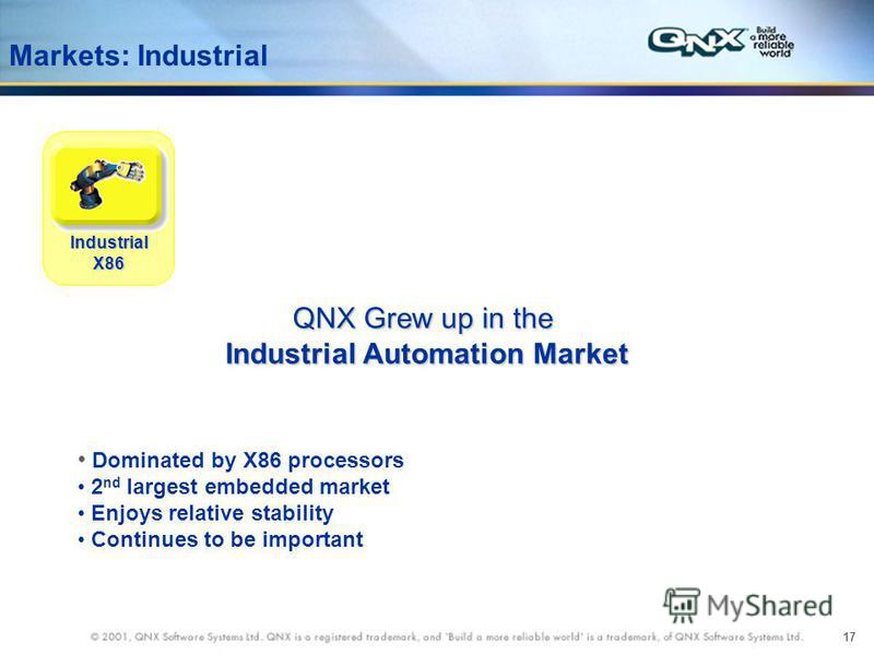 17 Markets: Industrial QNX Grew up in the Industrial Automation Market Industrial Automation Market IndustrialX86 Dominated by X86 processors 2 nd largest embedded market Enjoys relative stability Continues to be important