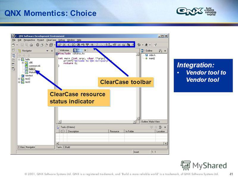 41 QNX Momentics: Choice ClearCase toolbar ClearCase resource status indicator Integration: Vendor tool to Vendor tool