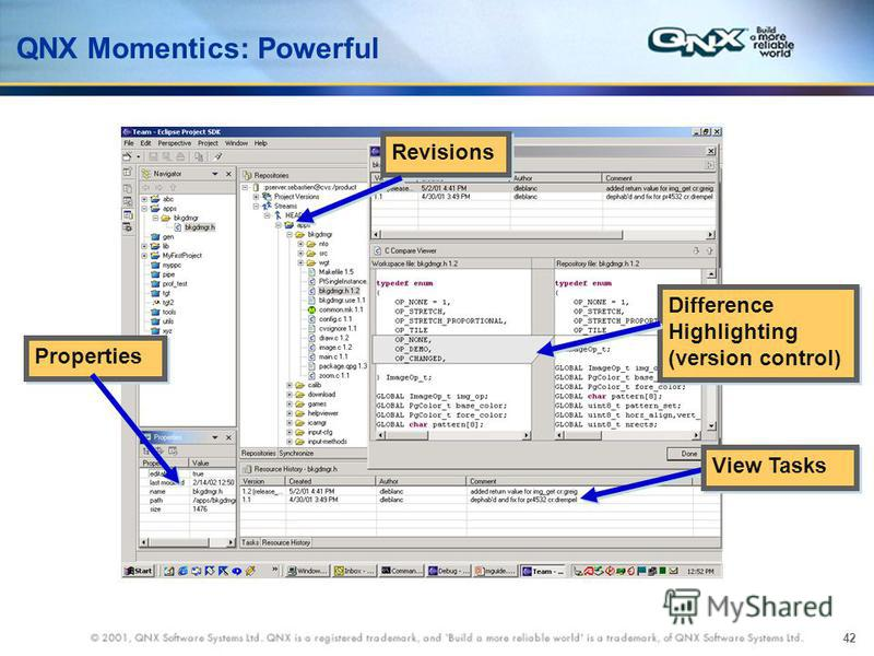 42 Revisions Difference Highlighting (version control) Properties View Tasks QNX Momentics: Powerful