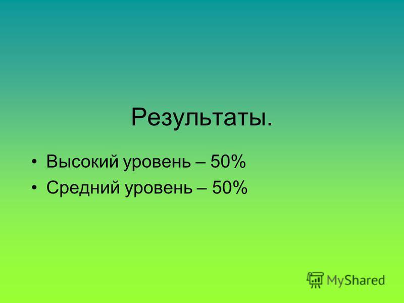 Результаты. Высокий уровень – 50% Средний уровень – 50%