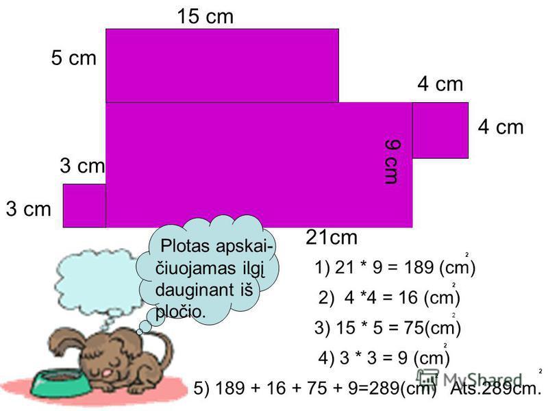 Plotas apskai- čiuojamas ilgį dauginant iš pločio. 4 cm 9 cm 21cm 3 cm 15 cm 5 cm 1) 21 * 9 = 189 (cm) 2) 4 *4 = 16 (cm) 3) 15 * 5 = 75(cm) 4) 3 * 3 = 9 (cm) 2 2 2 2 5) 189 + 16 + 75 + 9=289(cm) 2 Ats.289cm. 2