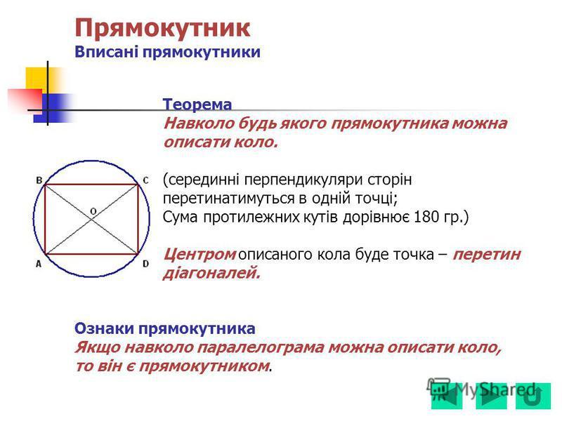 Прямокутник Вписані прямокутники Теорема Навколо будь якого прямокутника можна описати коло. (серединні перпендикуляри сторін перетинатимуться в одній точці; Сума протилежних кутів дорівнює 180 гр.) Центром описаного кола буде точка – перетин діагона