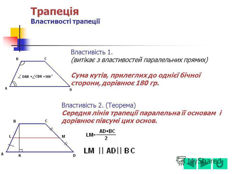 Трапеція Властивості трапеції Властивість 1. (витікає з властивостей паралельних прямих) Сума кутів, прилеглих до однієї бічної сторони, дорівнює 180 гр. Властивість 2. (Теорема) Середня лінія трапеції паралельна її основам і дорівнює півсумі цих осн