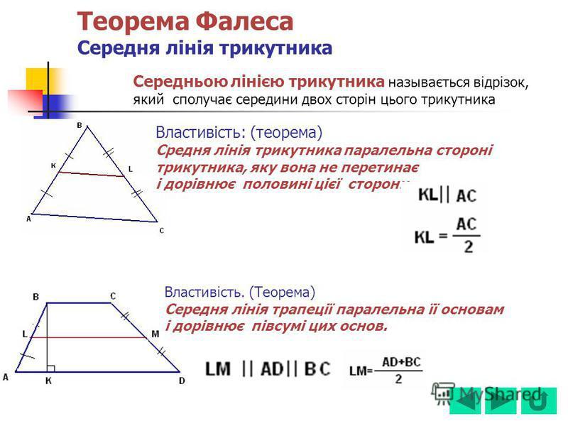 Теорема Фалеса Середня лінія трикутника Середньою лінією трикутника называється відрізок, який сполучає середини двох сторін цього трикутника Властивість: (теорема) Средня лінія трикутника паралельна стороні трикутника, яку вона не перетинає і дорівн