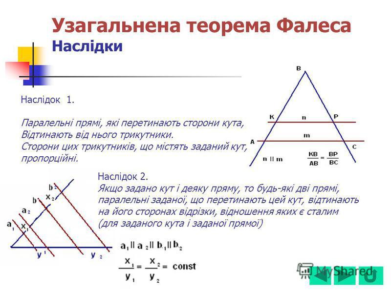 Наслідок 1. Паралельні прямі, які перетинають сторони кута, Відтинають від нього трикутники. Сторони цих трикутників, що містять заданий кут, пропорційні. Наслідок 2. Якщо задано кут і деяку пряму, то будь-які дві прямі, паралельні заданої, що перети