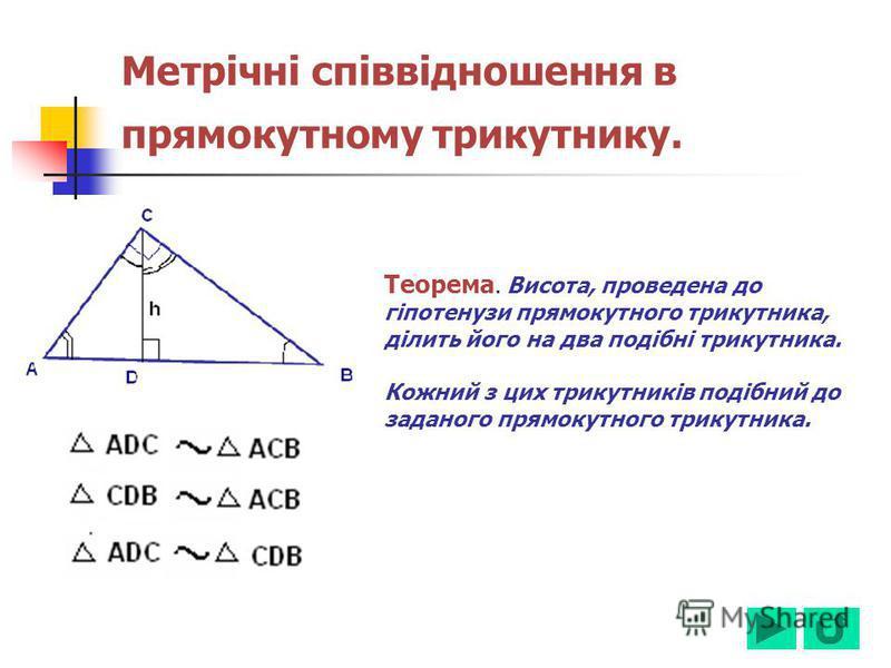 Метрічні співвідношення в прямокутному трикутнику. Теорема. Висота, проведена до гіпотенузи прямокутного трикутника, ділить його на два подібні трикутника. Кожний з цих трикутників подібний до заданого прямокутного трикутника.