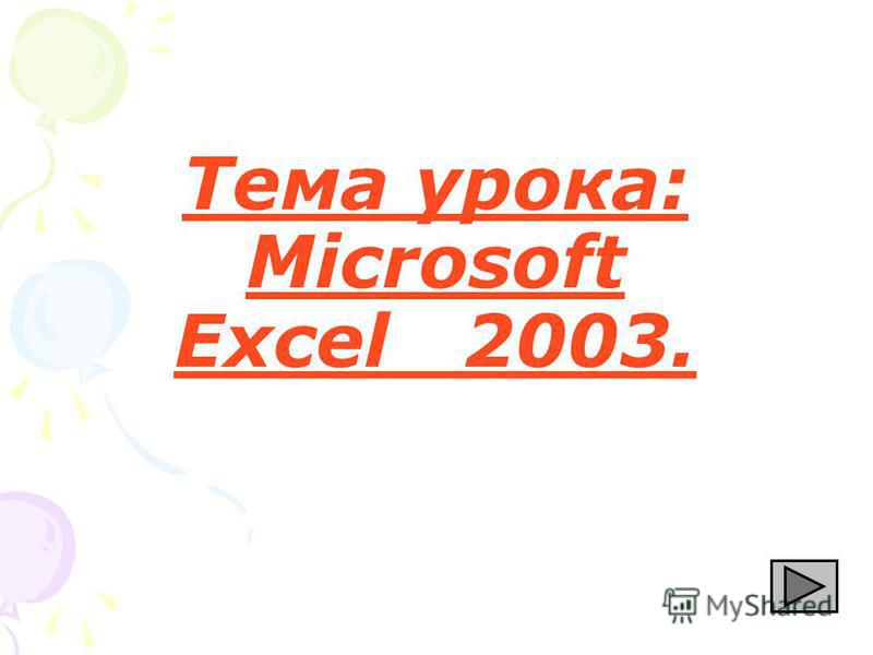 Тема урока: Microsoft Excel 2003.