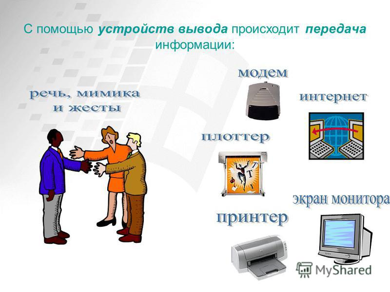 С помощью устройств вывода происходит передача информации: