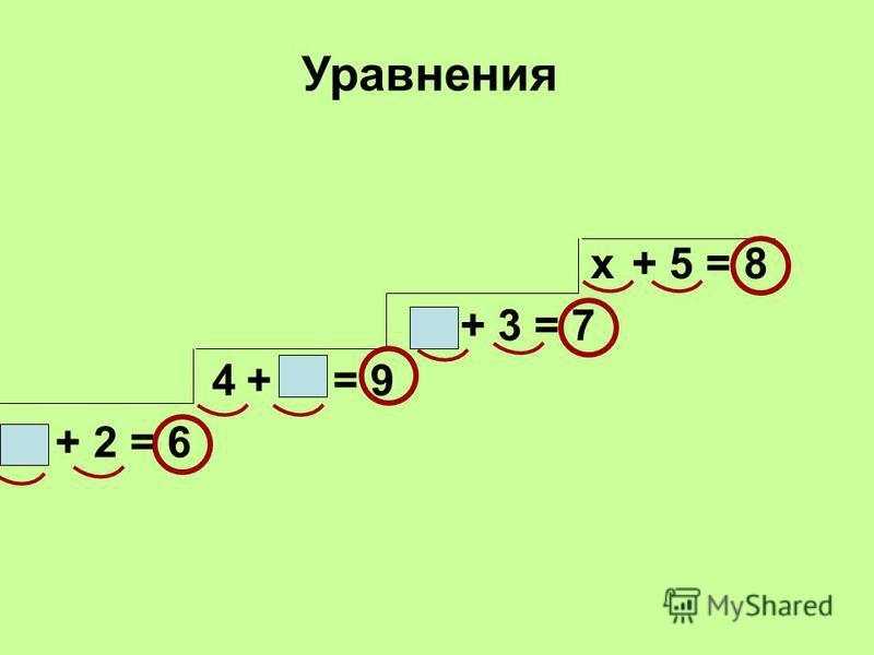 + 2 = 6 + = 9 + 5 = 8 + 3 = 7 4 Уравнения х