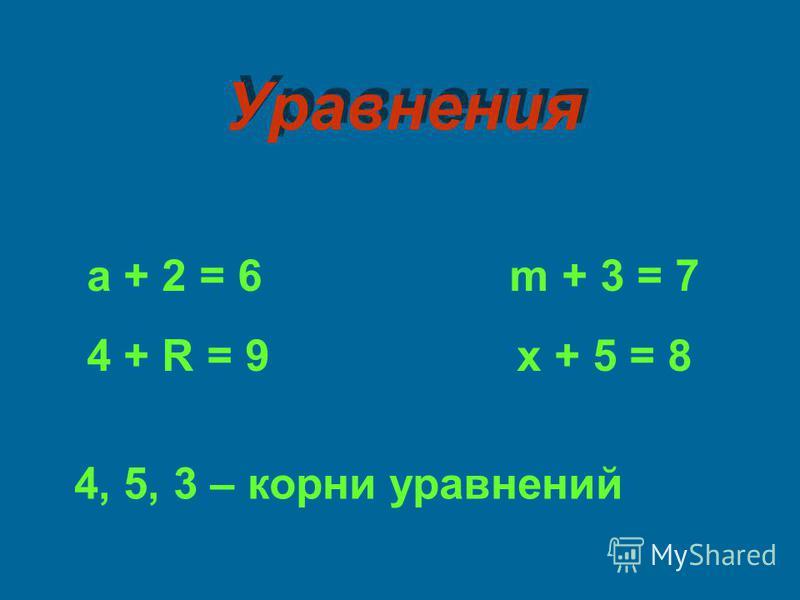 а + 2 = 6 m + 3 = 7 4 + R = 9 х + 5 = 8 4, 5, 3 – корни уравнений