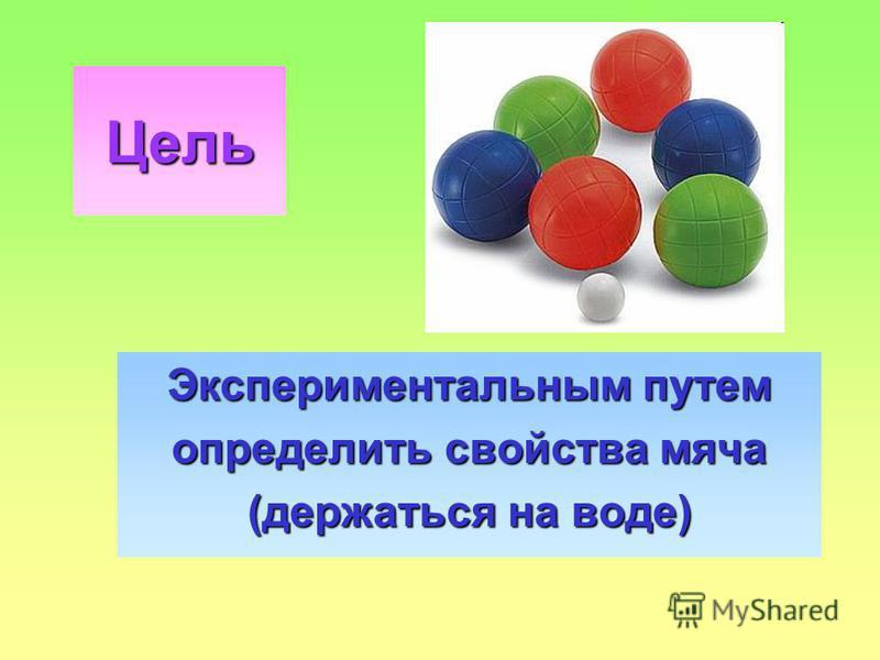 Цель Экспериментальным путем определить свойства мяча (держаться на воде)