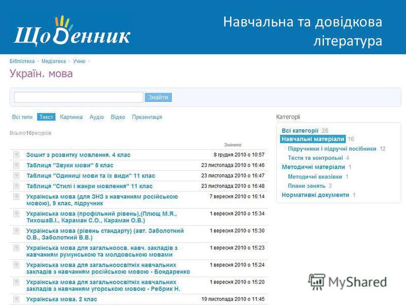 Страница администрирования Навчальна та довідкова література