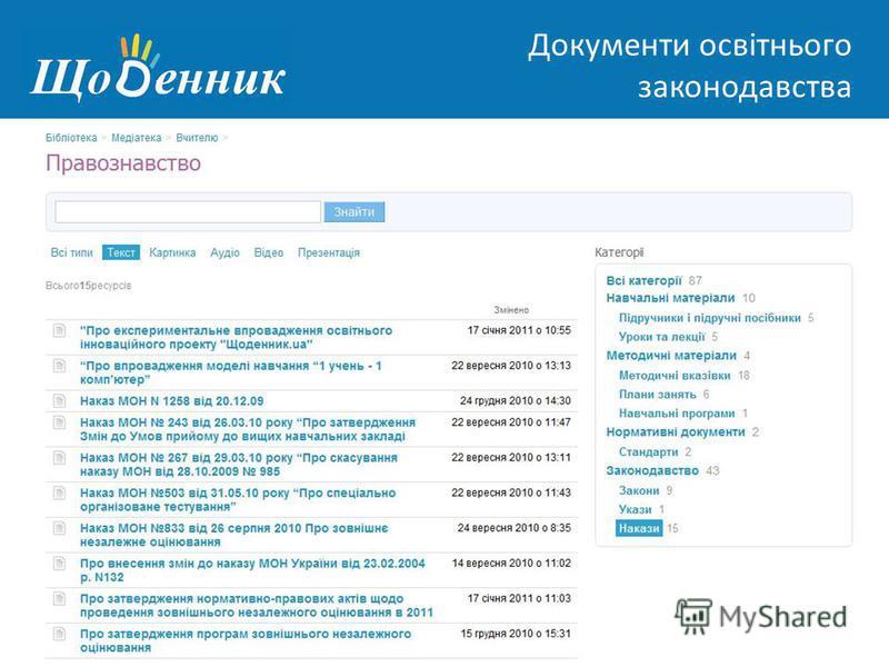 Страница администрирования Документи освітнього законодавства