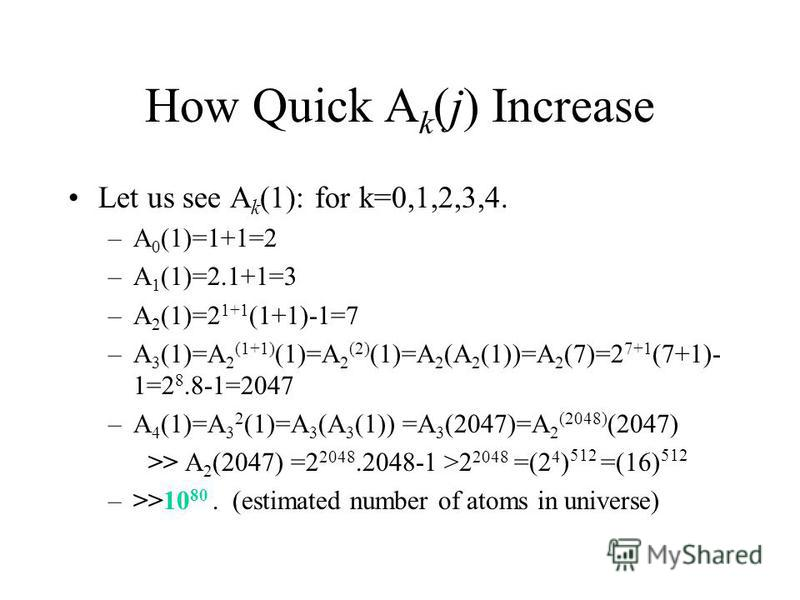 How Quick A k (j) Increase Let us see A k (1): for k=0,1,2,3,4. –A 0 (1)=1+1=2 –A 1 (1)=2.1+1=3 –A 2 (1)=2 1+1 (1+1)-1=7 –A 3 (1)=A 2 (1+1) (1)=A 2 (2) (1)=A 2 (A 2 (1))=A 2 (7)=2 7+1 (7+1)- 1=2 8.8-1=2047 –A 4 (1)=A 3 2 (1)=A 3 (A 3 (1)) =A 3 (2047)