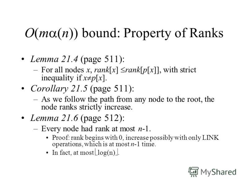 O(m (n)) bound: Property of Ranks Lemma 21.4 (page 511): –For all nodes x, rank[x] rank[p[x]], with strict inequality if x p[x]. Corollary 21.5 (page 511): –As we follow the path from any node to the root, the node ranks strictly increase. Lemma 21.6