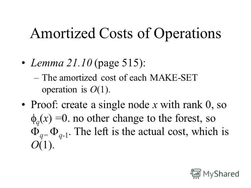 Amortized Costs of Operations Lemma 21.10 (page 515): –The amortized cost of each MAKE-SET operation is O(1). Proof: create a single node x with rank 0, so q (x) =0. no other change to the forest, so q= q-1. The left is the actual cost, which is O(1)