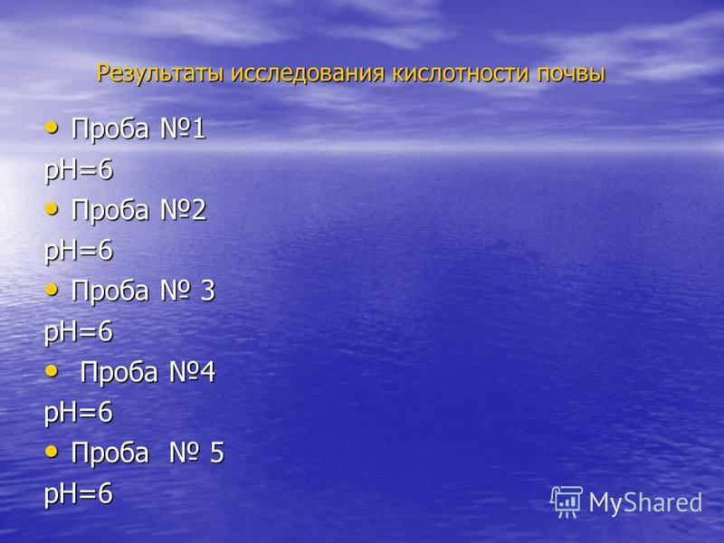 Результаты исследования кислотности почвы Проба 1 Проба 1 рН=6 Проба 2 Проба 2 рН=6 Проба 3 Проба 3 рН=6 Проба 4 Проба 4 рН=6 Проба 5 Проба 5 рН=6
