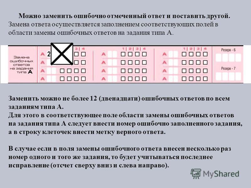 Можно заменить ошибочно отмеченный ответ и поставить другой. Замена ответа осуществляется заполнением соответствующих полей в области замены ошибочных ответов на задания типа А. Заменить можно не более 12 (двенадцати) ошибочных ответов по всем задани