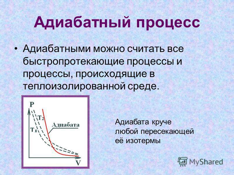 Адиабатный процесс Адиабатными можно считать все быстропротекающие процессы и процессы, происходящие в теплоизолированной среде. Адиабата круче любой пересекающей её изотермы