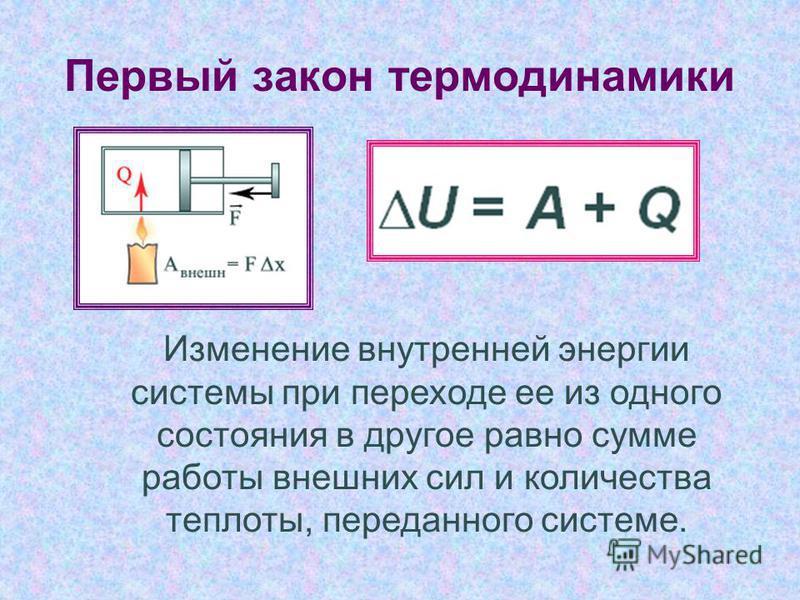 Изменение внутренней энергии системы при переходе ее из одного состояния в другое равно сумме работы внешних сил и количества теплоты, переданного системе.
