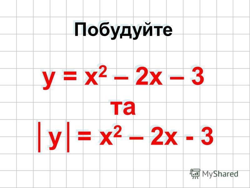 Побудуйте y = x 2 – 2x – 3 та y= x 2 – 2x - 3