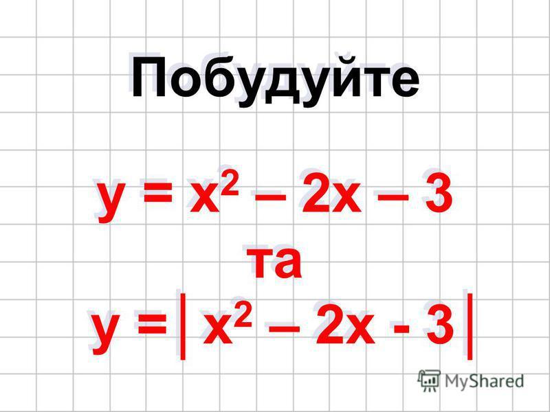 Побудуйте y = x 2 – 2x – 3 та y =x 2 – 2x - 3