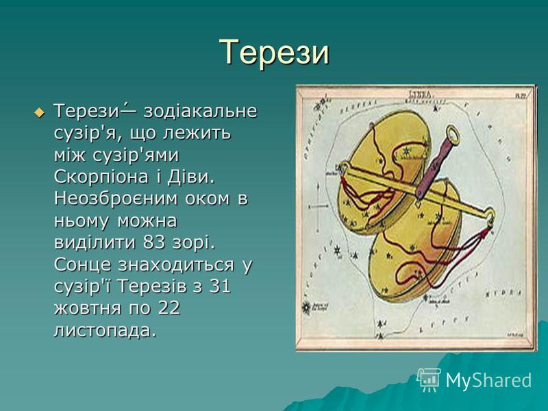 Терези Терези́ зодіакальне сузір'я, що лежить між сузір'ями Скорпіона і Діви. Неозброєним оком в ньому можна виділити 83 зорі. Сонце знаходиться у сузір'ї Терезів з 31 жовтня по 22 листопада. Терези́ зодіакальне сузір'я, що лежить між сузір'ями Скорп
