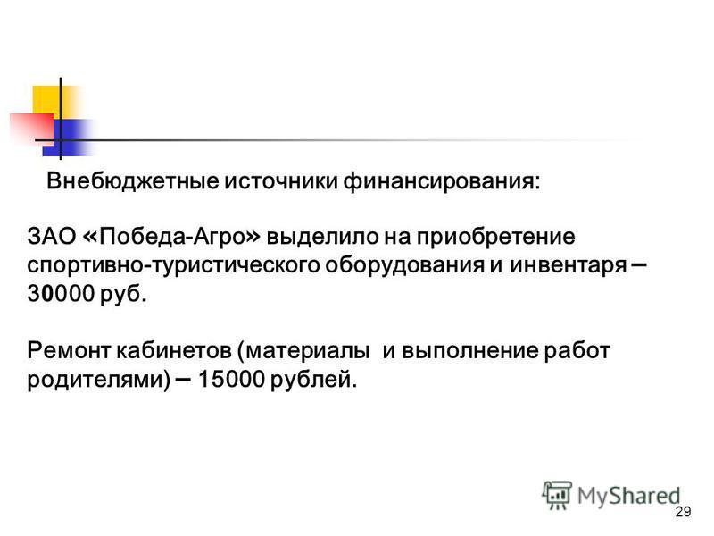 29 Внебюджетные источники финансирования: ЗАО « Победа-Агро » выделило на приобретение спортивно-туристического оборудования и инвентаря – 3 0 000 руб. Ремонт кабинетов (материалы и выполнение работ родителями) – 15000 рублей.
