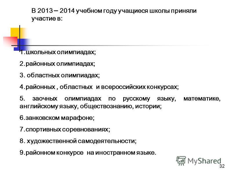 32 В 2013 – 2014 учебном году учащиеся школы приняли участие в: 1. школьных олимпиадах; 2. районных олимпиадах; 3. областных олимпиадах; 4.районных, областных и всероссийских конкурсах; 5. заочных олимпиадах по русскому языку, математике, английскому