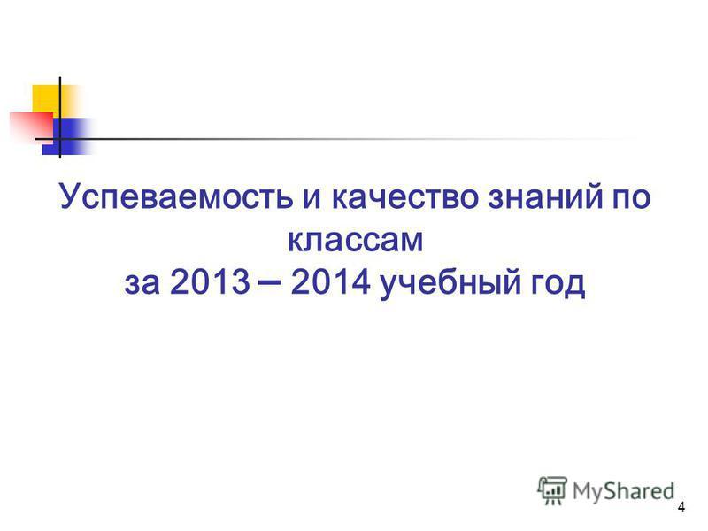4 Успеваемость и качество знаний по классам за 2013 – 2014 учебный год