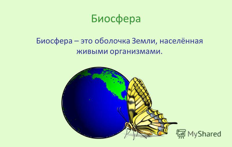 Биосфера Биосфера – это оболочка Земли, населённая живыми организмами.