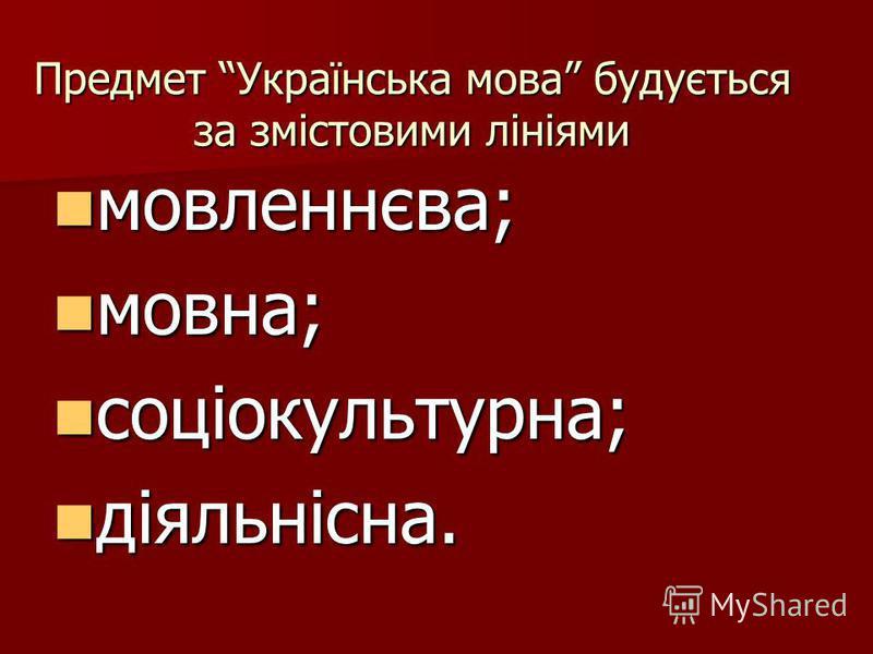 Предмет Українська мова будується за змістовими лініями мовленнєва; мовленнєва; мовна; мовна; соціокультурна; соціокультурна; діяльнісна. діяльнісна.