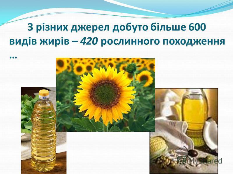 З різних джерел добуто більше 600 видів жирів – 420 рослинного походження …
