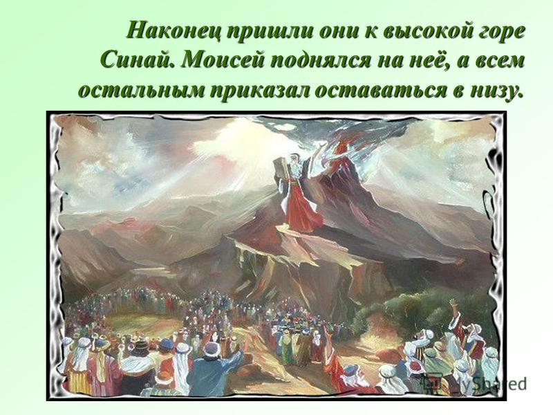 Наконец пришли они к высокой горе Синай. Моисей поднялся на неё, а всем остальным приказал оставаться в низу.