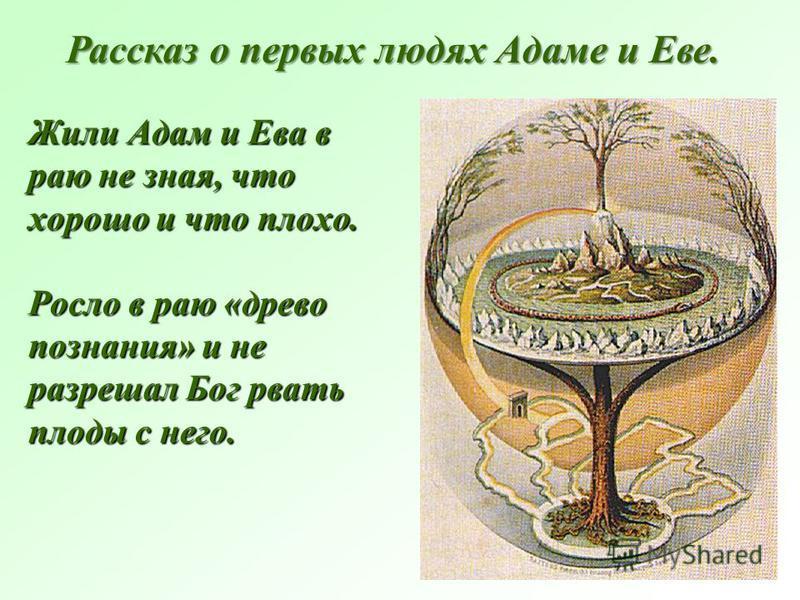 Жили Адам и Ева в раю не зная, что хорошо и что плохо. Росло в раю «древо познания» и не разрешал Бог рвать плоды с него. Рассказ о первых людях Адаме и Еве.