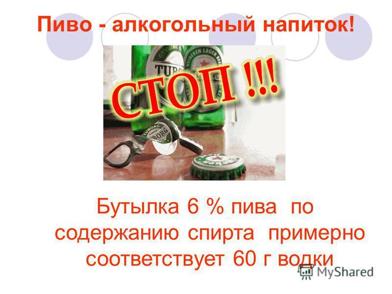Пиво - алкогольный напиток! Бутылка 6 % пива по содержанию спирта примерно соответствует 60 г водки