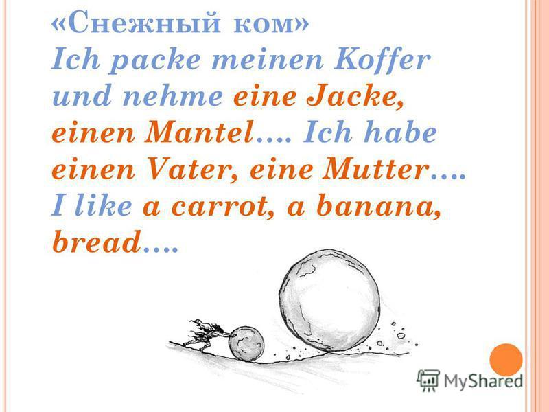 «Снежный ком» Ich packe meinen Koffer und nehme eine Jacke, einen Mantel…. Ich habe einen Vater, eine Mutter…. I like a carrot, a banana, bread….