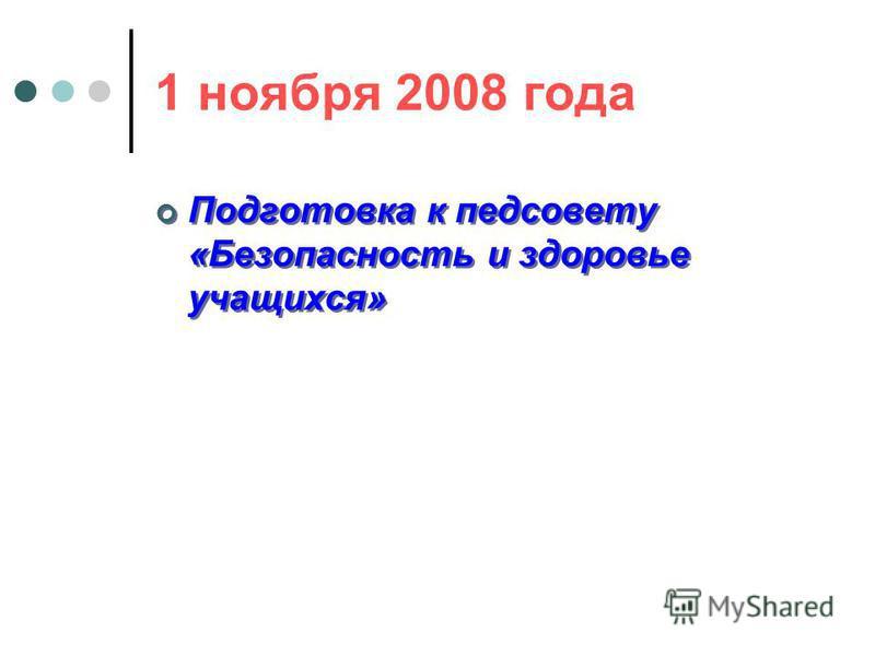 1 ноября 2008 года Подготовка к педсовету «Безопасность и здоровье учащихся»