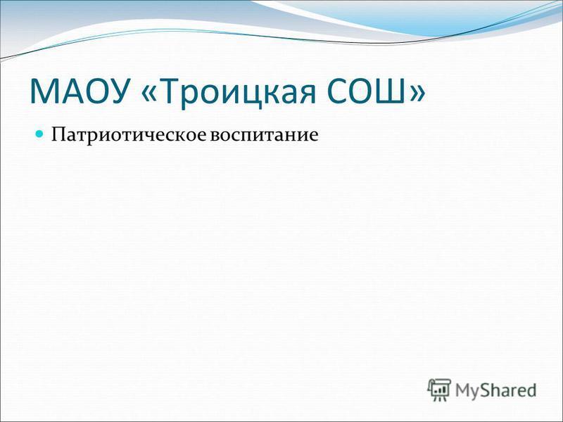 МАОУ «Троицкая СОШ» Патриотическое воспитание