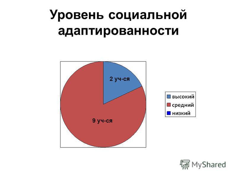 Уровень социальной адаптированности 9 уч-ся 2 уч-ся