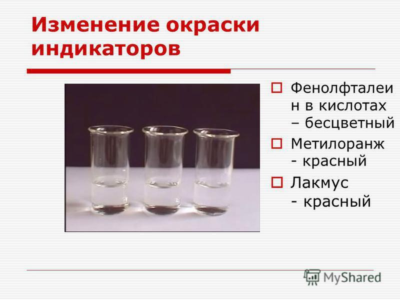 Изменение окраски индикаторов Фенолфталеи н в кислотах – бесцветный Метилоранж - красный Лакмус - красный