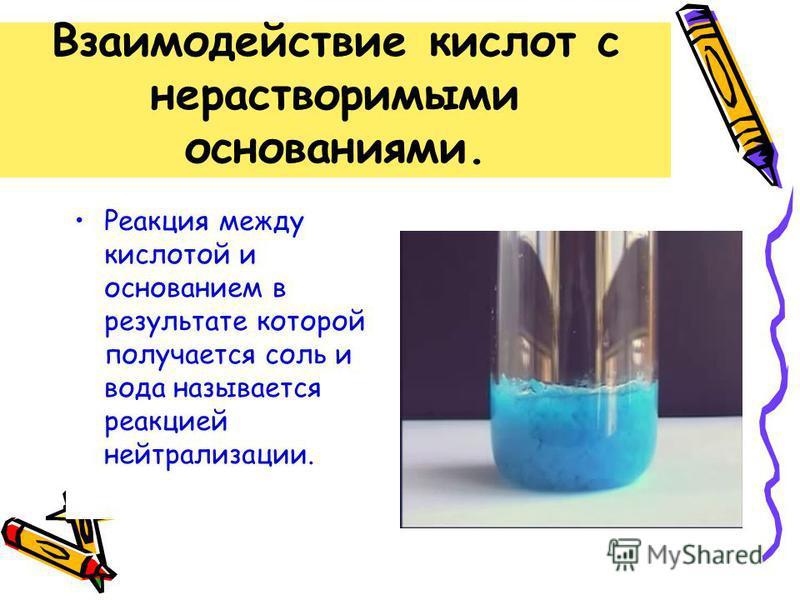 Взаимодействие кислот с нерастворимыми основаниями. Реакция между кислотой и основанием в результате которой получается соль и вода называется реакцией нейтрализации.