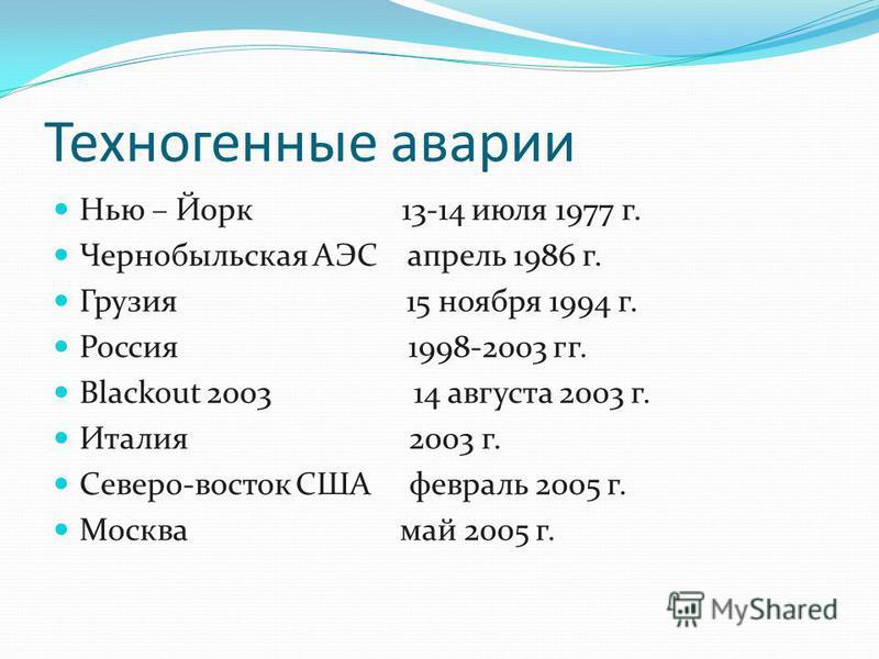 Техногенные аварии Нью – Йорк 13-14 июля 1977 г. Чернобыльская АЭС апрель 1986 г. Грузия 15 ноября 1994 г. Россия 1998-2003 гг. Blackout 2003 14 августа 2003 г. Италия 2003 г. Северо-восток США февраль 2005 г. Москва май 2005 г.