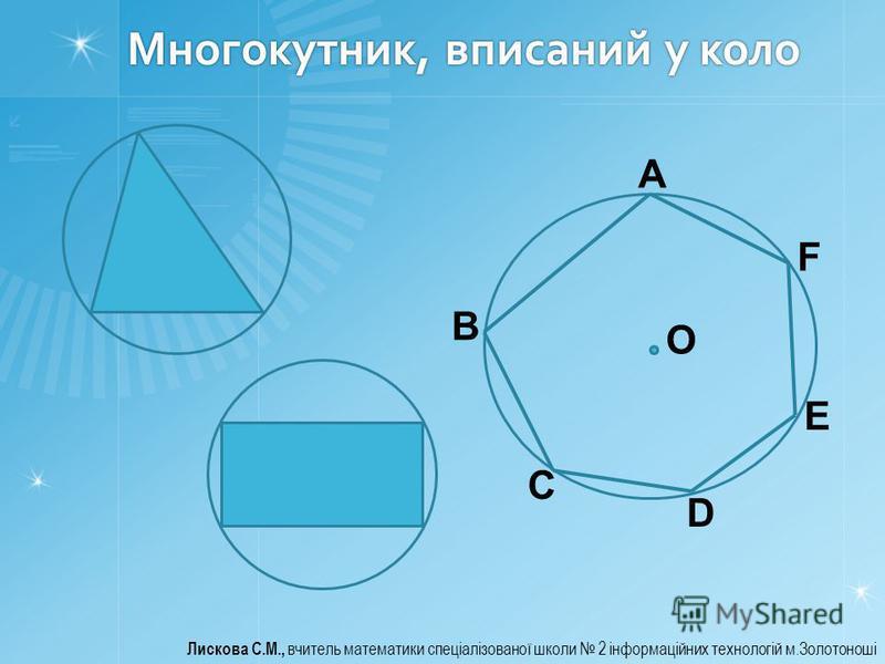 Многокутник, вписаний у коло Лискова С.М., вчитель математики спеціалізованої школи 2 інформаційних технологій м.Золотоноші A B C D E F О
