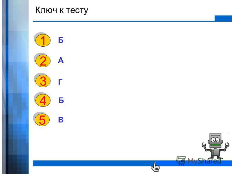 WWW.YOUR-COMPANY-URL.COM Ключ к тесту Б А Г 1 1 2 2 3 3 4 4 5 5 Б В