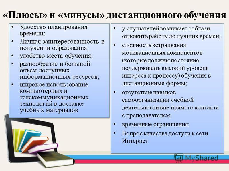 «Плюсы» и «минусы» дистанционного обучения Удобство планирования времени; Личная заинтересованность в получении образования; удобство места обучения; разнообразие и большой объем доступных информационных ресурсов; широкое использование компьютерных и