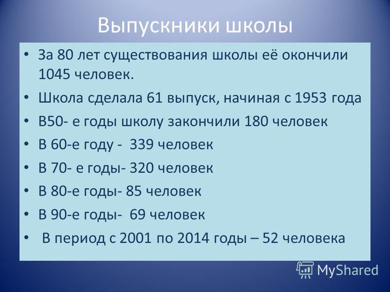 Выпускники школы За 80 лет существования школы её окончили 1045 человек. Школа сделала 61 выпуск, начиная с 1953 года В50- е годы школу закончили 180 человек В 60-е году - 339 человек В 70- е годы- 320 человек В 80-е годы- 85 человек В 90-е годы- 69