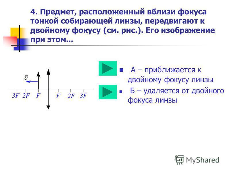 3. С помощью линзы на экране получено перевернутое изображение пламени свечи. Как изменятся размеры изображения, если часть линзы заслонить листом бумаги? А – часть изображения пропадет Б – размеры изображения не изменятся