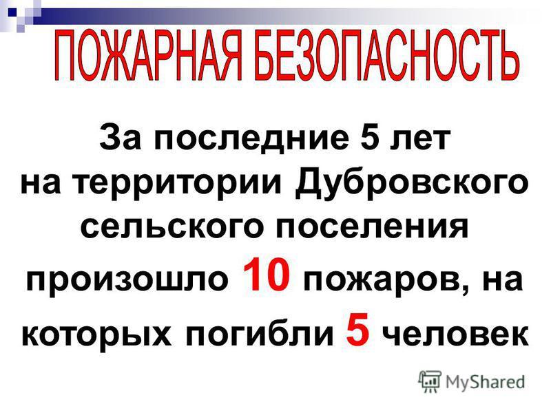 За последние 5 лет на территории Дубровского сельского поселения произошло 10 пожаров, на которых погибли 5 человек